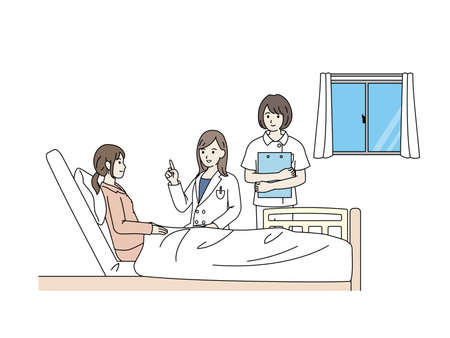 It is an illustration of a Hospitalization Woman. Иллюстрация