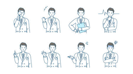 It is an illustration of a Doctor man variation set