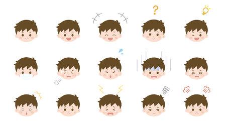It is an illustration of a Boy face variation set.