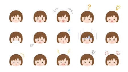 It is an illustration of a Girl face variation set.