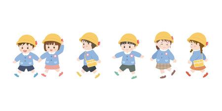 It is an illustration of a Kindergarten children walk. Иллюстрация