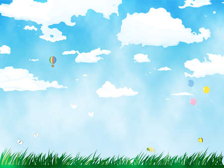 It is an illustration of a Sky and field background. Иллюстрация