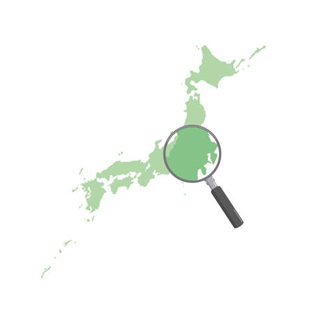 It is an illustration of a Map of Japan search. Иллюстрация