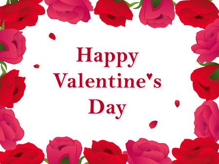 It is an illustration of a Valentine card Rose flower frame design.