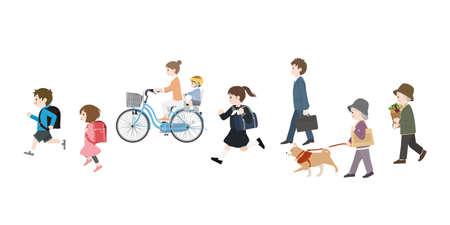 It is an illustration of a Walking people.