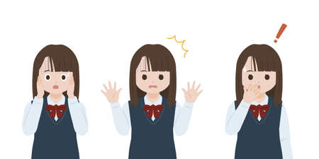 It is an illustration of a Student girl surprised.