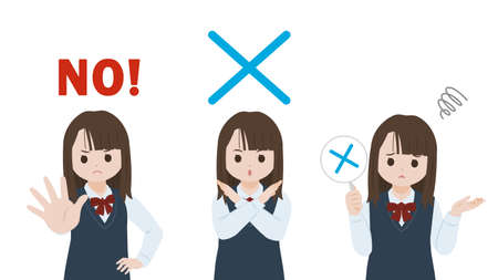 It is an illustration of a Student girl NO pose.