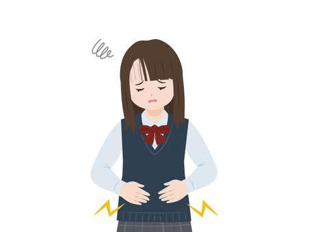 illustration of a Student girl stomachache. Vektorové ilustrace
