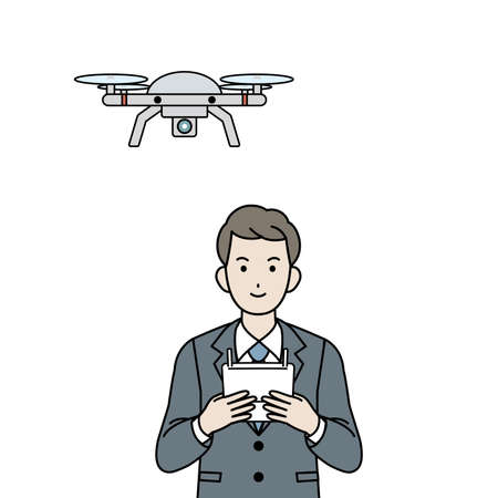 It is an illustration of a Businessman drone operation.