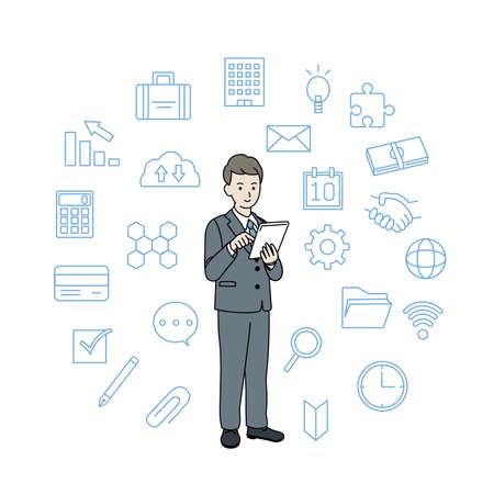 It is an illustration of a Businessman use tablet.