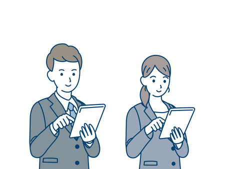 It is an illustration of Business people using tablet.