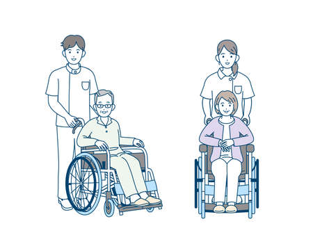 It is an illustration of a Old person gets on a wheelchair.