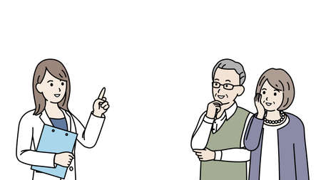It is an illustration of a Doctor explain and old couple.