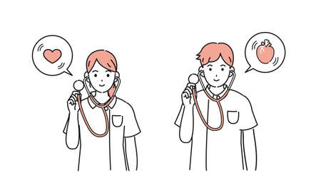 It is an illustration of a Nurse Doctor using a stethoscope.