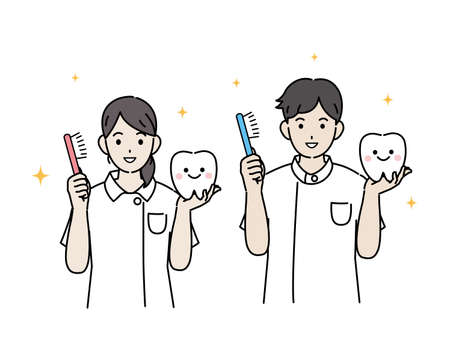 It is an illustration of a Dentist tooth brushing.
