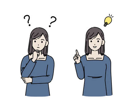 It is an illustration of a Young woman thinking of idea.