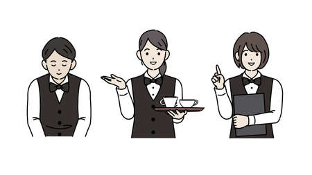 It is an illustration of a Clerk and waiter staff illustration.