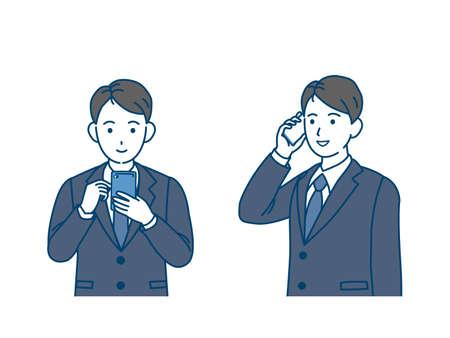 It is an illustration of a Businessman use smartphone. Vektoros illusztráció