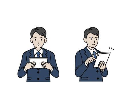 It is an illustration of a Businessman use tablet. Vektoros illusztráció