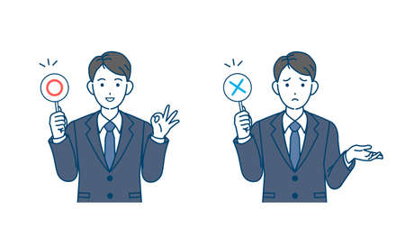 It is an illustration of a Businessman correct and incorrect answers.