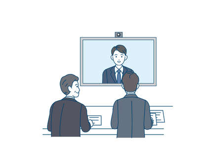 It is an illustration of a Remote interviewer.