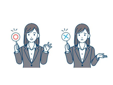It is an illustration of a Businesswoman correct and incorrect answers.