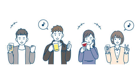 It is an illustration of a Drinking party young people.