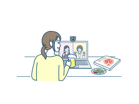 It is an illustration of a Online drinking party women. Ilustração