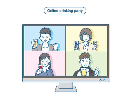 It is an illustration of a Online drinking party people. Ilustração