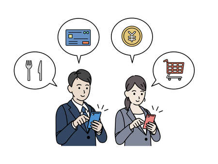 It is an illustration of a Smartphone shopping and settlement Business person. Ilustração