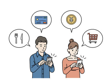 It is an illustration of a Smartphone shopping and settlement Marriage couple.