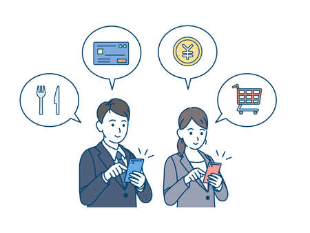 It is an illustration of a Smartphone shopping and settlement Business person.