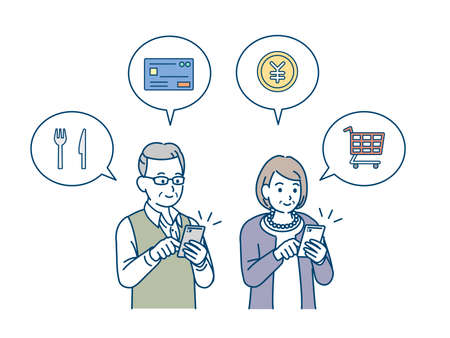 It is an illustration of a Smartphone shopping and settlement old couple. Ilustração