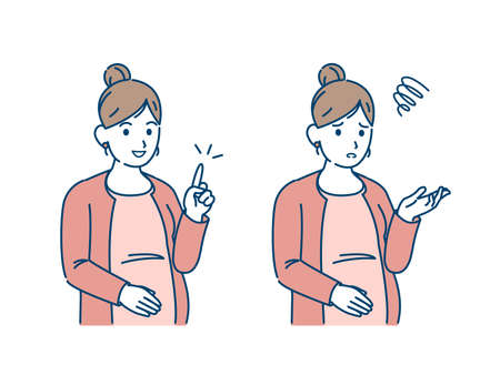 It is an illustration of a Pregnant woman problems and solutions gesture. Ilustração