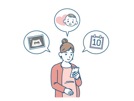 It is an illustration of a Pregnant woman examination schedule.