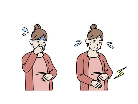 It is an illustration of a Pregnant woman morning sickness and labor pain. Ilustração