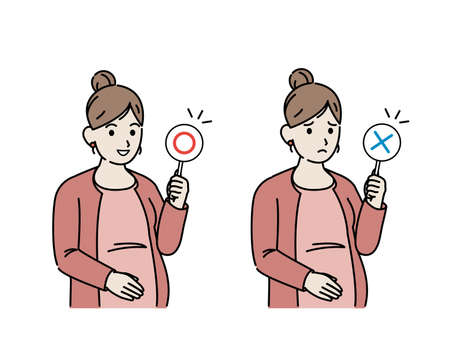 It is an illustration of a Pregnant woman correct and incorrect answers. Ilustração