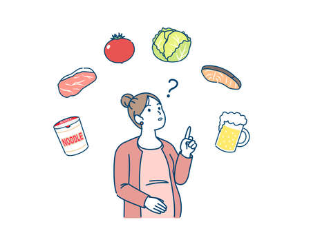 It is an illustration of a Pregnant woman pregnancy foods.