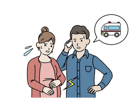 It is an illustration of a Pregnant woman labor pain call ambulance.