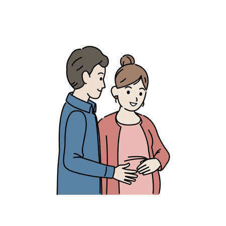 It is an illustration of a Pregnant woman with husband.