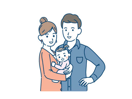 It is an illustration of a Young marriage couple family.