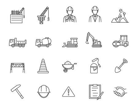 It is an illustration of a Construction icons.
