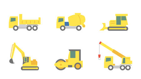 It is an illustration of a Heavy equipment icons. Ilustração