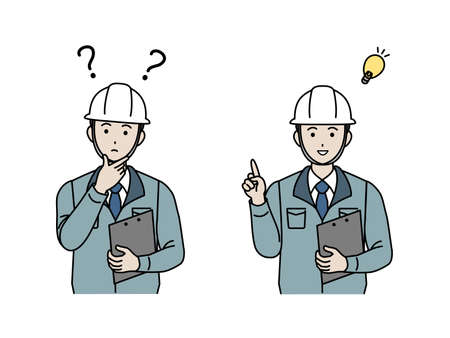 It is an illustration of a Site foreman think and idea. Ilustração