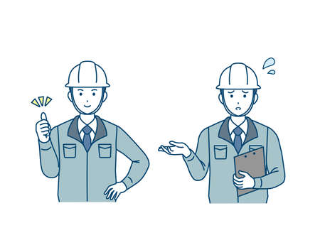 It is an illustration of a Site foreman trouble and success. Imagens - 168427179