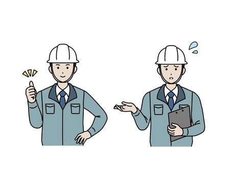 It is an illustration of a Site foreman trouble and success. Imagens - 168407378