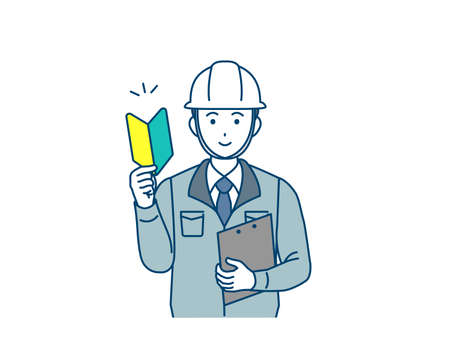 It is an illustration of a Site foreman work beginner.