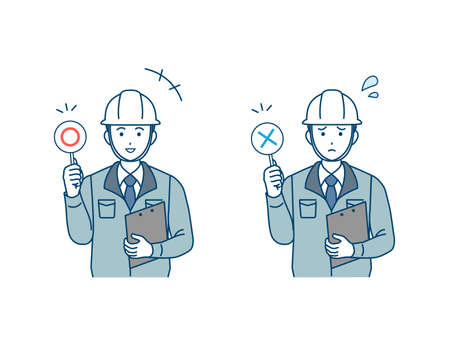 It is an illustration of a Site foreman correct and incorrect answers.