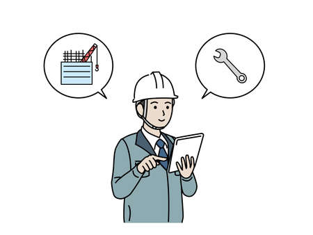 It is an illustration of a Site foreman use tablet.
