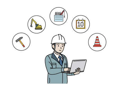 It is an illustration of a Site foreman use pc. Ilustração